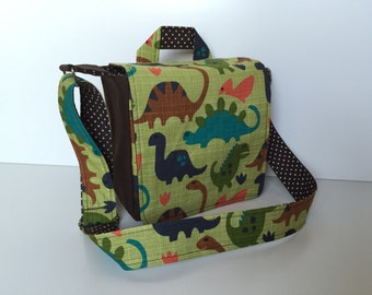 children's bag (S) 'Dinosaurs' green-brown (dotted)