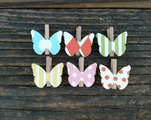 Mini Butterfly Clothes Pins Baby Shower Game Garden Tea Party Favor Clips Nursery Decor Blue Pink Yellow Green Orange Polka Dot Stripe