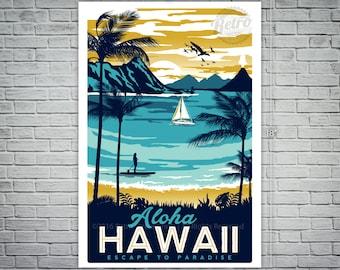 Hawaii Retro Vintage Travel Poster Surf Palm Trees