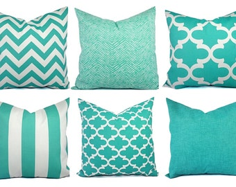 One Indoor Outdoor Pillow Cover - Aqua Pillow - Teal Pillow Covers - Patio Pillow - Couch Pillow Cushion Cover - Turquoise Pillow
