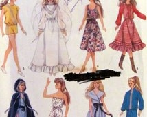 Simplicity 8333, Vintage  Barbie Doll Size Wardrobe , Doll Clothes  Sewing Pattern, Wedding Gown, Sun suit, Circa 1987 Uncut