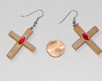 G Wooden Cross Earrings, Handcut and Shaped, Approx 2 1/2 Inches in Length, Red Gem Center, Silver Tone French Hooks