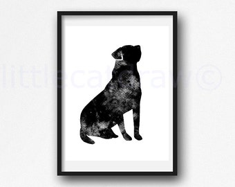 Black Labrador Dog Print Watercolor Dog Art Watercolor Painting Print Watercolour Wall Art Dog Watercolor Wall Decor