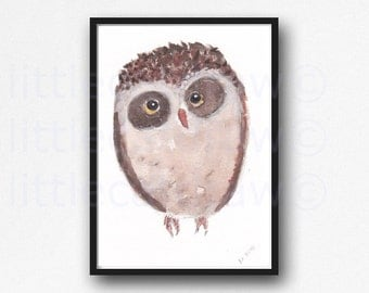 Handsome Mr Brown Owl Watercolor Painting Bird Print Watercolour Owl Wall Art Littlecatdraw