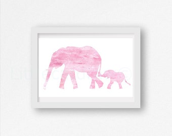 Pink Elephant Print Watercolor Mother and Baby Elephants Nursery Wall Art Baby Decor Watercolor Painting Print Unframed Wall Decor