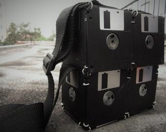 Handmade ecofriendly black floppy disk shoulder bag
