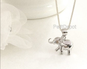 Baby Elephant Necklace Sterling Silver, Small Elephant Necklace, Tiny Animal Pendant, Elephant charm, Happy Baby Elephant Necklace