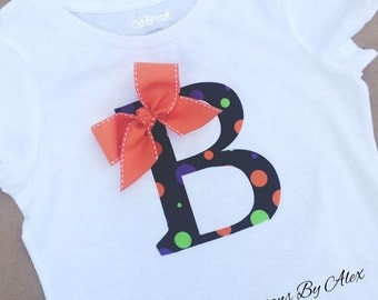 Initial Halloween/fall applique shirt with bow