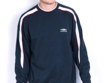 Umbro Mens L Vintage Sweatshirt Crew Neck Navy Blue