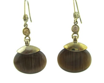 Vintage Monet Brown Striated Satin Art Glass Rhinestone  Gold Tone Dangle  Earrings