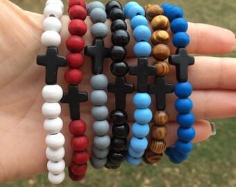 8mm Wood Beaded Cross Bracelet/ Black Cross Bracelet/ Men's Cross Bracelet