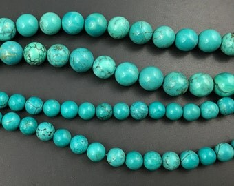 natural Chinese turquoise beads, howlite turquoise beads, round loose gemstone beads, stone beads, blue green 8mm 10mm 15'' strand