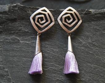 Everyday earrings, Silver spiral post earrings with violet tassels, Boho tassel earrings, Bohemian jewelry, Gift for women, 1143-8