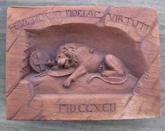 Antique Swiss Lion of Lucerne Wood Plaque