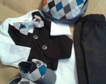 Wyatt Set- Newborn Coming Home, Newborn Take Home, Newborn Photo, Baby Boy Outfit,  Shower, Ring Bearer, 1st  Birthday, Cake Smash, Shower