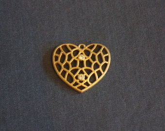 Vintage Gold Heart Pendant with Rhinestones