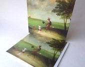 """Single Greetings Card: """"Master Lamb and His Painting Tutor Discoursing on Perspective, on the Way to Atherstone, 1785"""""""