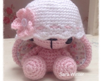 Amigurumi Crochet Bunny Rabbit wearing flower hat
