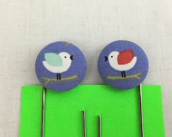 Colorful Birds Covered Button Paperclip, Bookmark, Paper Organizer