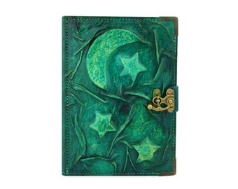 Embossed Moon and Stars on a Green Refillable Leather Journal/Notebook/Geniune Leather /Notepad/Diary/Sketchbook/Handmade/Persian Paper