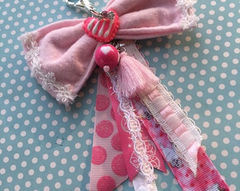 Kawaii Lolita Fabric bow charm, kawaii bag charm, lolita planner charm, lolita bow, kawaii accessories