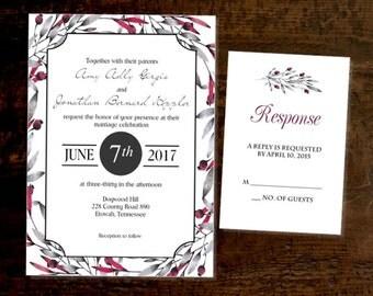 Wedding Invitation & RSVP Card Cranberry Printed Wedding Invitations