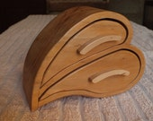 "A two drawer ""Heart Shaped"" jewellery/trinket box made in Scottish Willow"