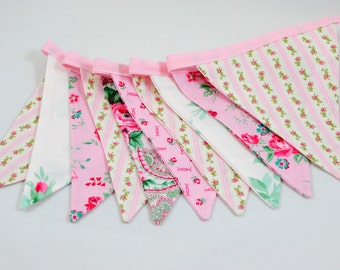 Shabby Chic Pink Antique Fabric Pennant Banner