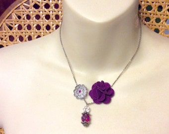 Up cycled necklace made be me. Recycled old earrings.