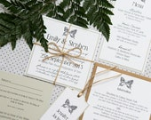 SAMPLE PACK Butterfly Print Rustic Twine Wedding Invitations
