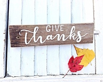 Thanksgiving Decor-Reclaimed Wooden Sign Wall Art-Give Thanks