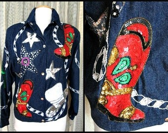 Sequin Cowgirl Jacket / fits M-L / Felicity by Jarrison Morgan Jacket / Beaded Western Jacket / Diamonds and Denim Jacket / Fancy Cowgirl
