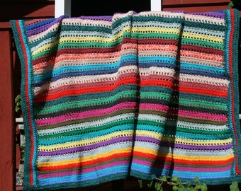 Abigail : New handmade crocheted afghan blanket, striped, bayadere style, multicolored