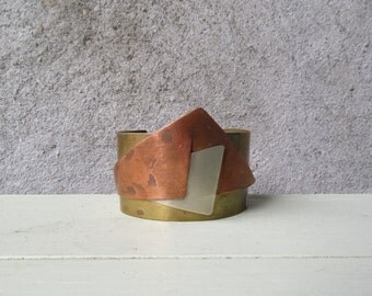 Mid Century Modern Studio Made Mixed Metal Copper Cuff Bracelet