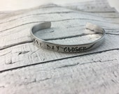 Handstamped deployment for couples, bracelet and coin, One day closer.  Slide photo to see more.