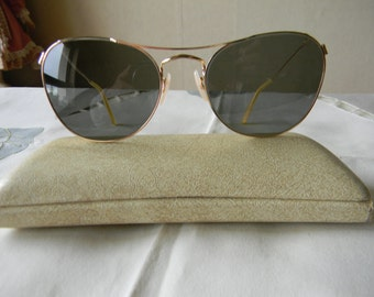 True Vintage Rare sunglasses gold filled original glass lenses. Made in England. 1940's