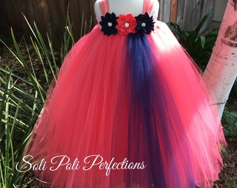 Coral Tutu Dress, Navy Tutu Dress, Flower Girl Tutu Dress, Navy and Coral Tutu Dress, Coral and Navy Flower Girl Dress