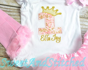 Pink and Gold First (1st, 2nd, 3rd, 4th, 5th) Birthday Shirt, Pink and Gold Birthday shirt with bow, Girls Birthday Shirt gold