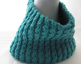 Circle Scarf Turquoise Green Cowl Adult Size Hand Knit Winter Accessories Ready to Ship