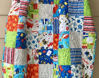 Ready to ship fire truck, baby quilt, first responder toddler quilt, modern boy baby quilt, police car, rescue quilt in blue, red, green