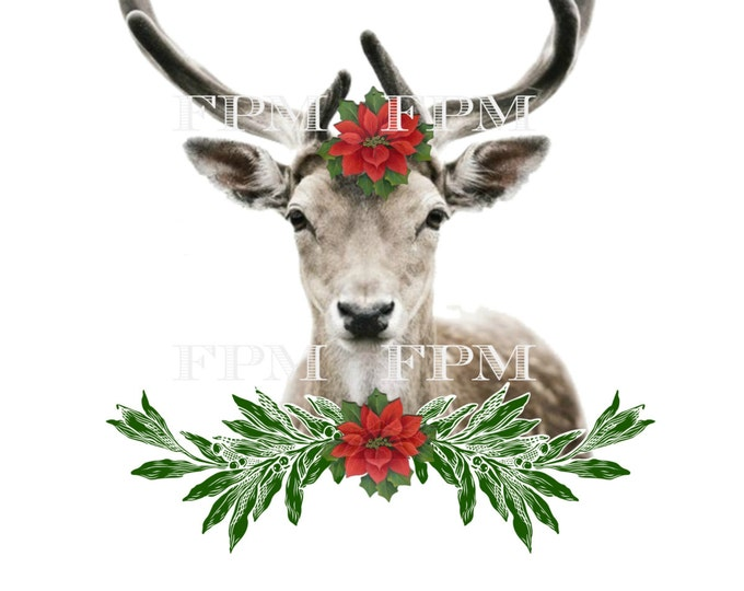 Digital Christmas Reindeer, Reindeer Christmas Pillow Image, Fabric Transfer, Instant Download