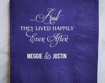 "Personalized ""They Lived Happily Ever After"" Wedding Napkins, Fairytale Wedding Napkins, Custom Napkins, Wedding Favor Napkins, Cake Table"