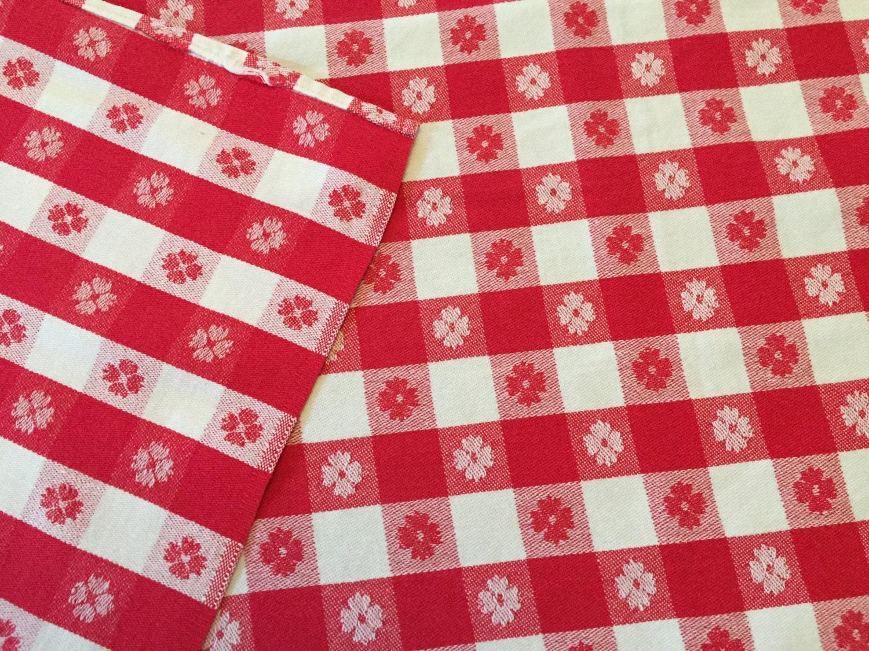 Vintage Picnic Tablecloth Red White Woven Cotton Farmhouse