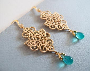 Gold and Turquoise Dangle Earrings - Gift for Her - Bridesmaid Gift