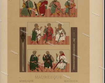 Antique Original Costume Print from Firmin didot's publication- First Edition- Maracon-  Matted large size -Renaissance