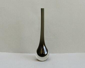 Vintage Charcoal Gray Sommerso Cased Glass Vase Art Glass Mid Century Modern