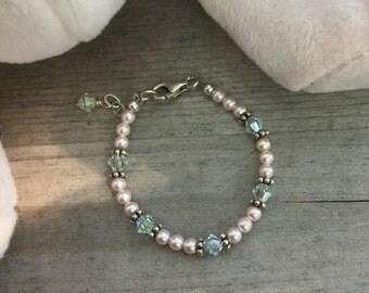 Newborn Baby Bracelet - Swarovski Crystal Bracelet for Babies - Swarovski Pearl Bracelet - Baby Gift