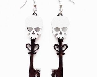 Skull key earrings