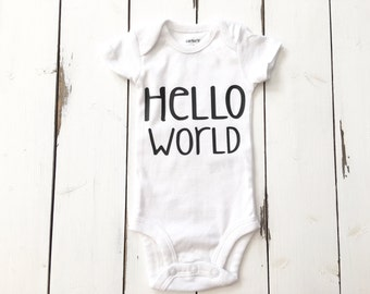 Hello World baby boy newborn bodysuit coming home outfit baby boy clothes
