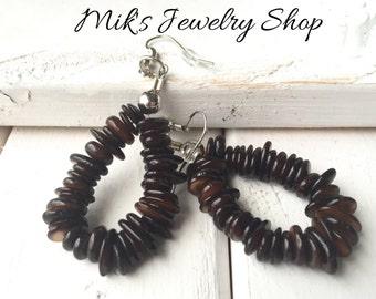 Brown earrings, Unique brown earrings, brown dangle earrings, brown boho earrings, boho jewelry, brown jewelry